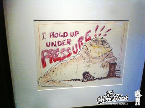 Un croquis humoristique réalisé par un créatif sur le tournage du Retour Du Jedï, évoquant la pression durant la préparation du film.