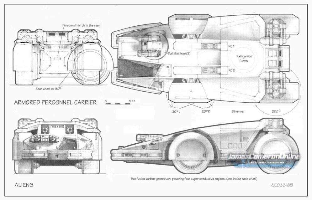 Concept art de Ron Cobb pour le tank des Marines.