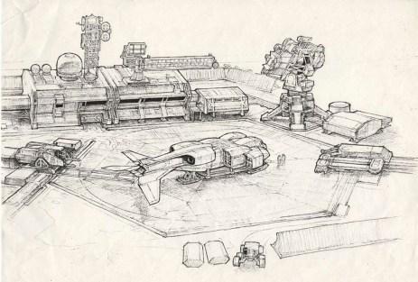 Concept art de Ron Cobb pour l'extérieur de la colonie.
