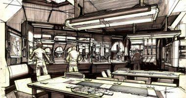 Concept art de l'intérieur du Sulaco par Syd Mead.