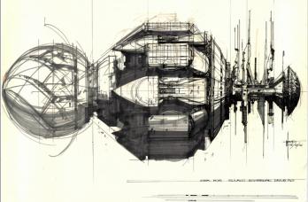 Concept art du Sulaco par Syd Mead.