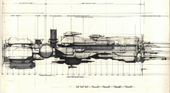 Le Sulaco par Syd Mead, dans son concept définitif.